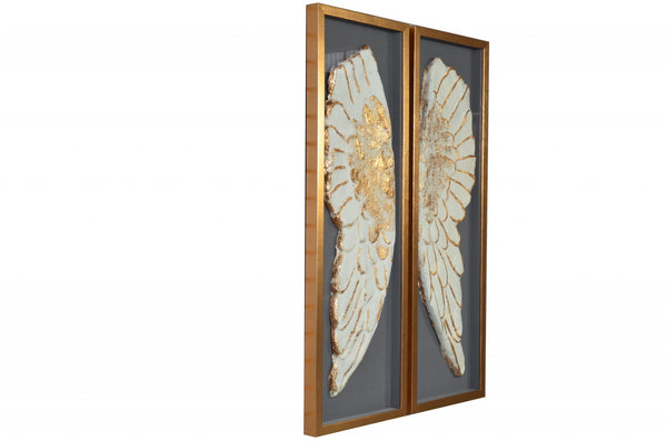 "51"" x 2"" x 47"" White And Gold, Glass - Shadow Box"
