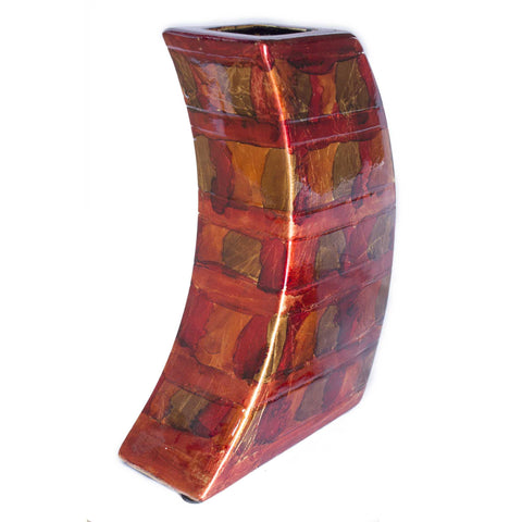 Contemporary Copper Red Gold Ceramic Foil and Lacquer Leaning Vase