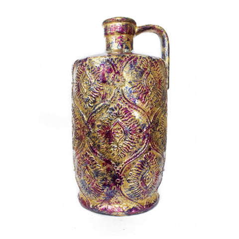 Amber Pink and Purple Foil and Lacquer Damask Stamped Jug Vase