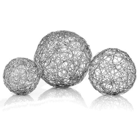 "3"" x 3"" x 3"" Shiny Nickel Silver Wire Spheres Box of 3"