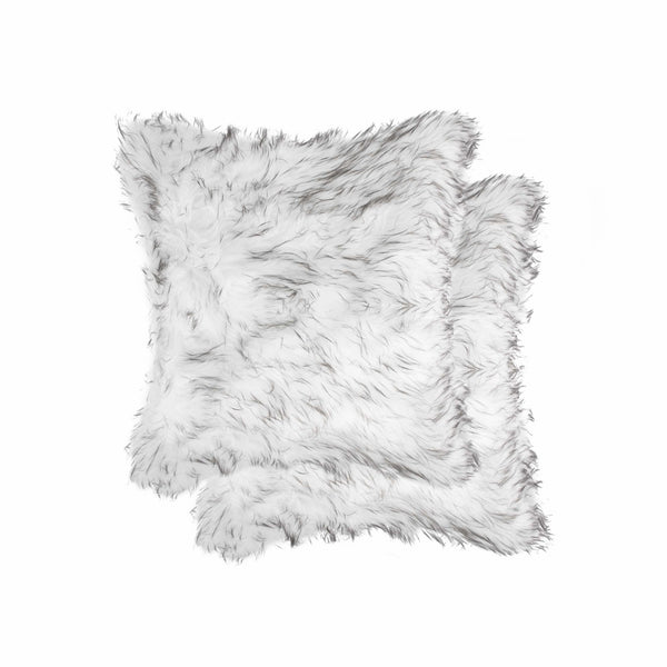 "18"" x 18"" x 5"" Gradient Gray/Faux Fur - 2pack Pillow"