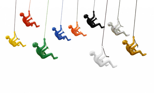 "6"" x 3"" x 3"" Resin Multicolor 9 Pack Climbing Man"