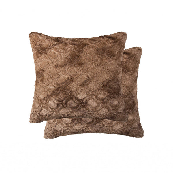 "20"" x 20"" x 5"" Acrylic Plush, Polyester, Polyfill Brown 2 Pack Pillow"