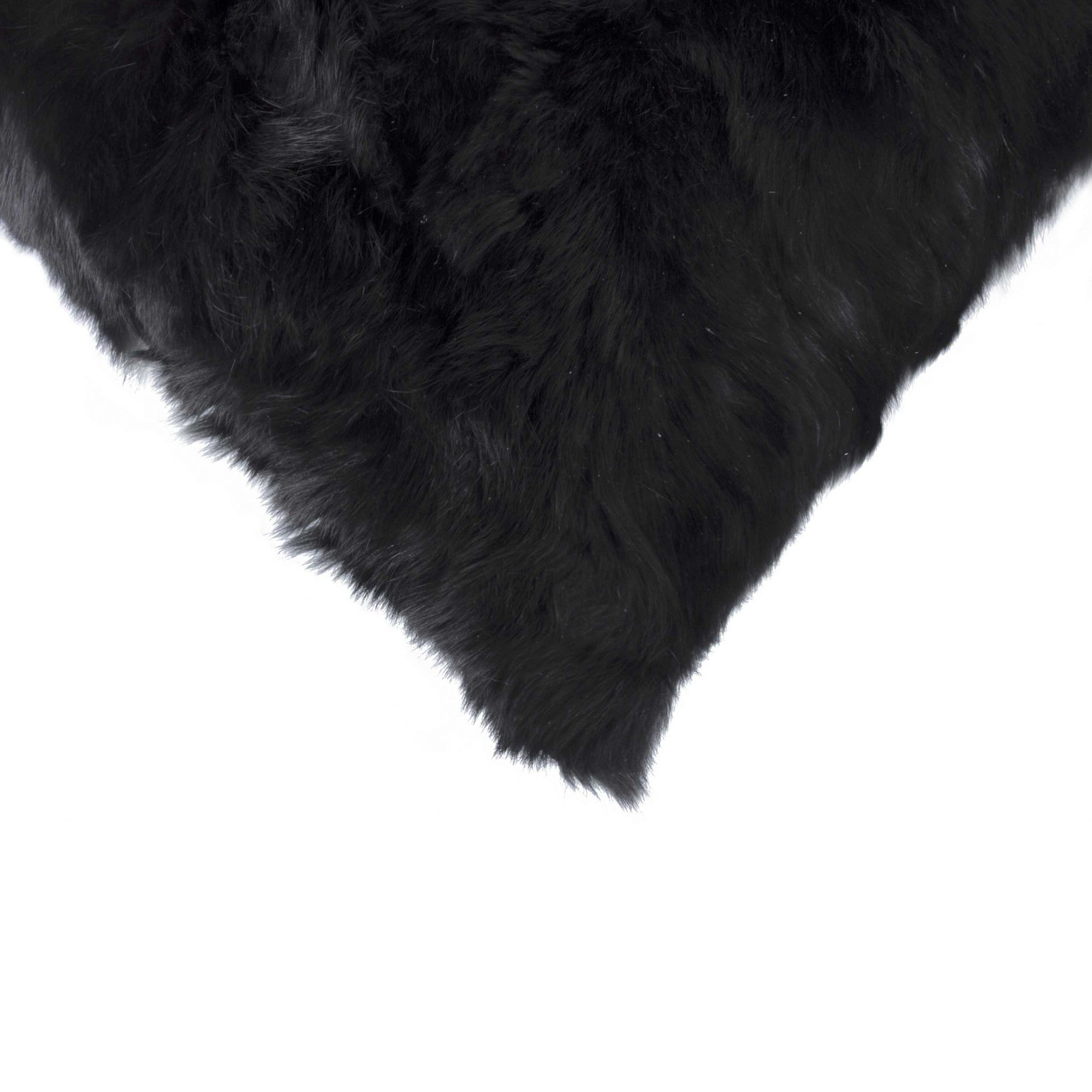"5"" x 18"" x 18"" 100% Natural Rabbit Fur Black Pillow"