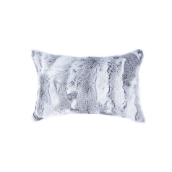 "5"" x 12"" x 20"" 100% Natural Rabbit Fur Grey Pillow"