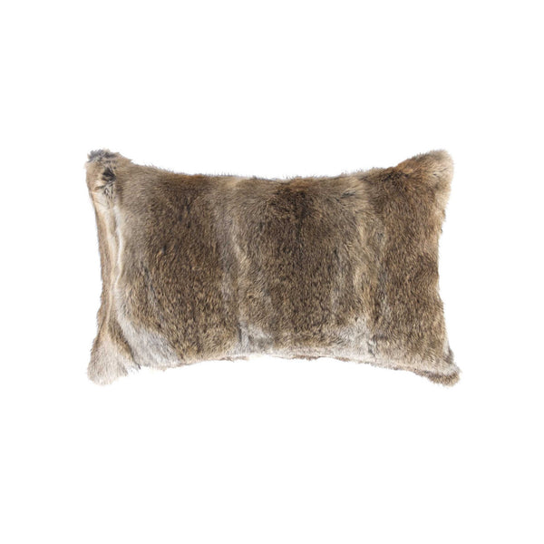 "5"" x 12"" x 20"" 100% Natural Rabbit Fur Hazelnut Pillow"