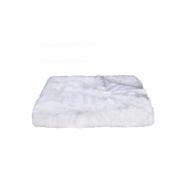 "2"" x 50"" x 60"" 100 Natural Rabbit Fur White Throw Blanket"