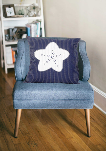 Nautical White Star Blue Square Accent Pillow