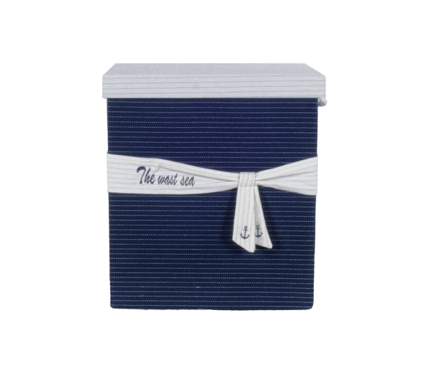 "13.5"" x 17"" x 22.5"" Blue Fabric, Basket With Bow - Decoration Set of 5"