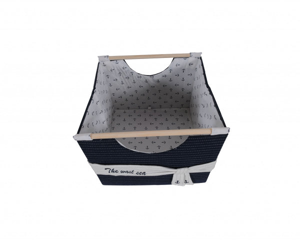 "12"" x 12.5"" x 9.5"" White, Blue, Foldable, Fabric - Basket Set of 3"
