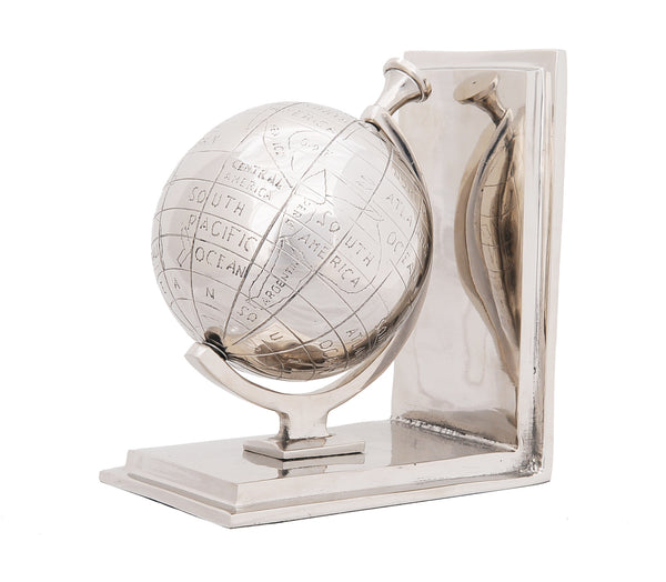 "4.5"" x 6.75"" x 7.75"" Alum Globe Bookend Set Of Two"