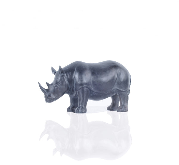 Burnished Bronze and Black Rhinoceros Statue