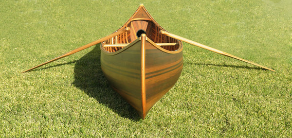 "26.25"" x 118.5"" x 16""  Matte Finish, Wooden Canoe With Ribs Curved Bow"