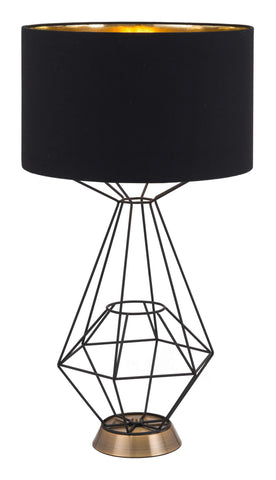"15"" x 15"" x 28"" Black, Polyblend, Steel, Table Lamp"