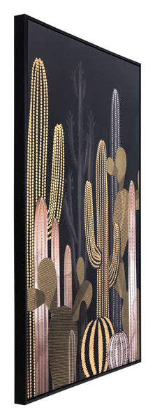 "32.7"" x 1.7"" x 48.4"" Black & Gold, Pine Wood, At Dusk Canvas"
