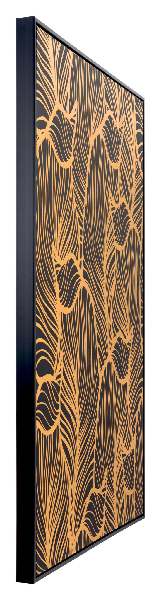 Bold Black and Gold Flora Canvas on Pinewood Frame