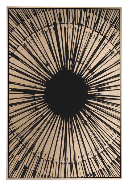 "33"" x 2"" x 48"" Black and Gold Pine Wood Sunburst Canvas"