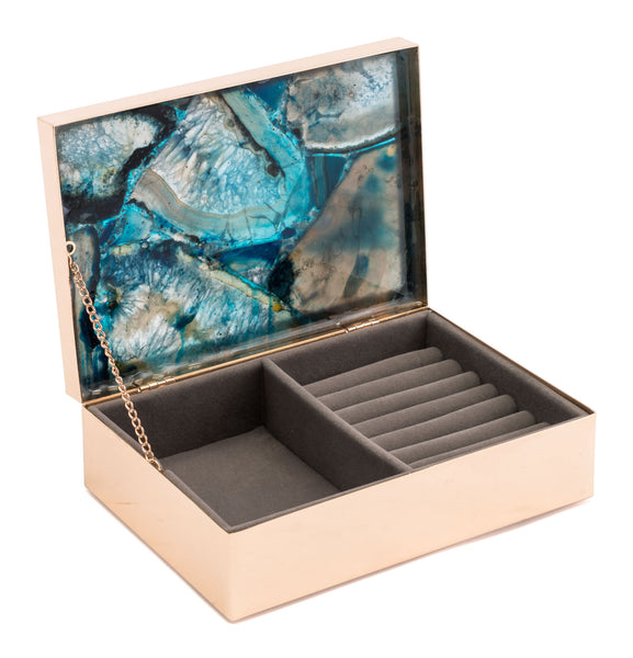 "7.7"" x 5.3"" x 2.4"" Blue, Printed Glass & Steel, Stone Box Large"