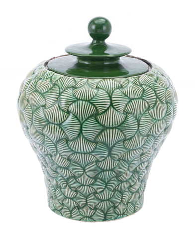 "16.7"" x 16.7"" x 20.5"" Green, Ceramic, Small Temple Jar"