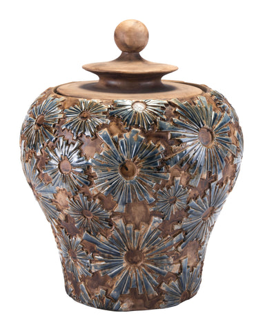 "16.3"" x 16.3"" x 19.3"" Brown, Ceramic, Small Temple Jar"