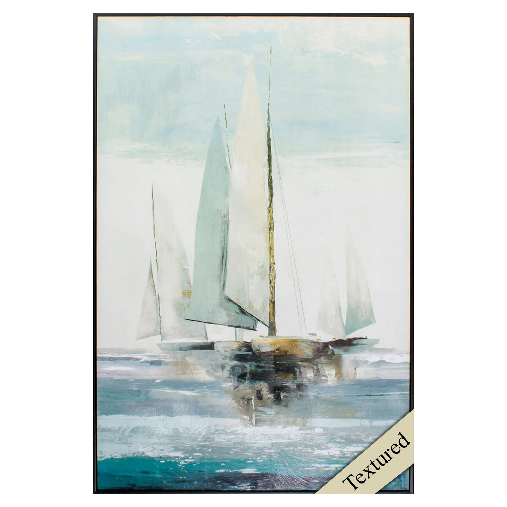 "24"" X 36"" Brown Frame Quiet Boats"