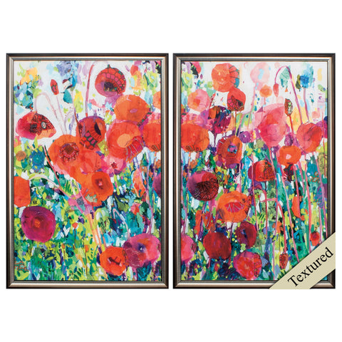 "17"" X 25"" Brown Frame Vivid Poppy Collage (Set of 2)"