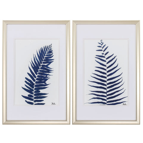"18"" X 28"" Champagne Gold Color Frame  Indigo Ferns (Set of 2)"
