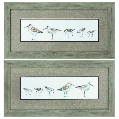"26"" X 13"" Wood toned Frame Pebbles & Sandpipers (Set of 2)"