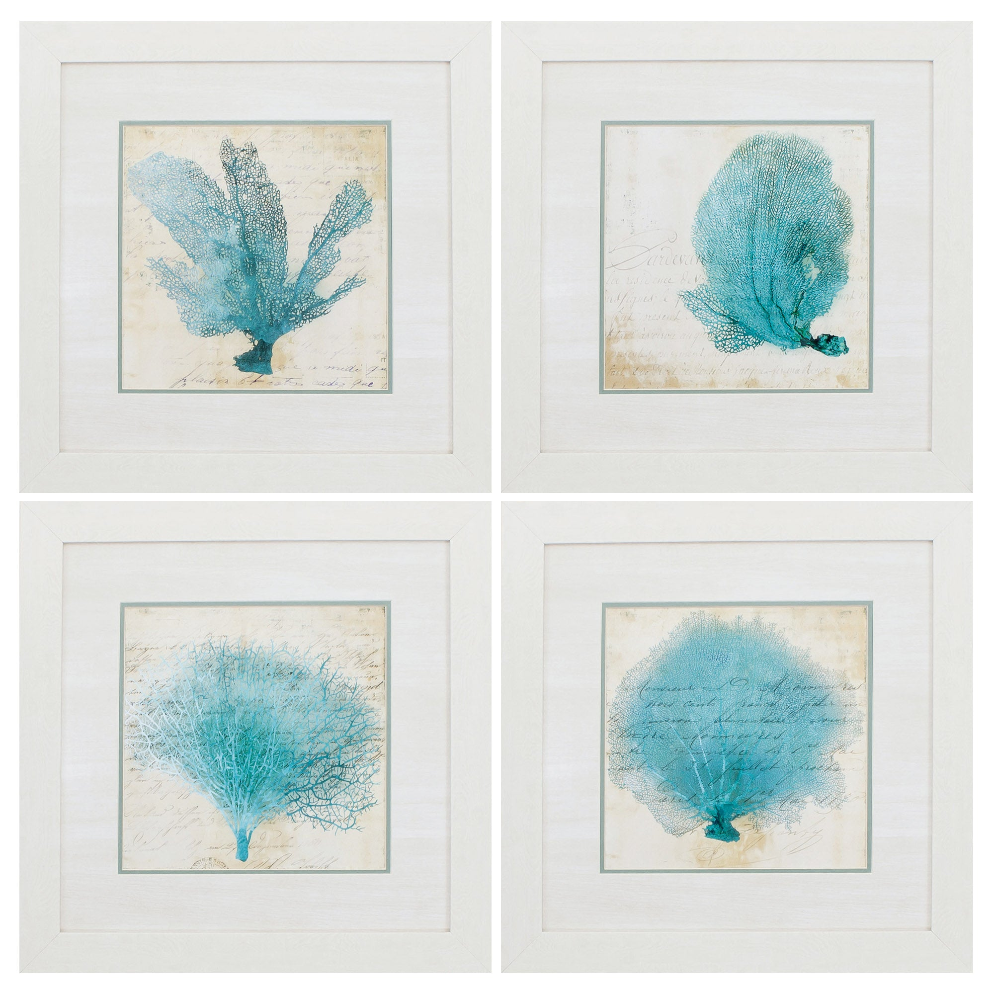 "21"" X 21"" White Frame Blue Coral (Set of 4)"