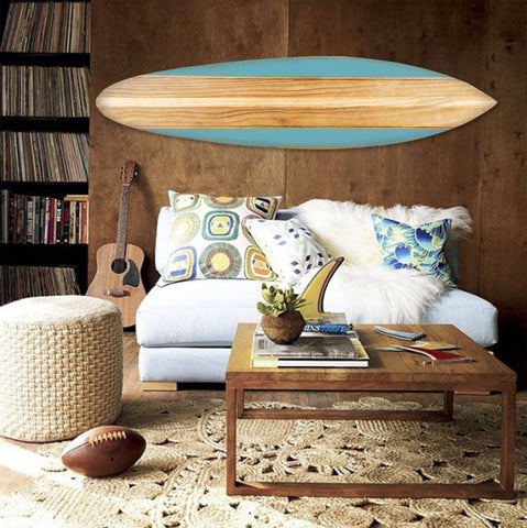 "18"" x 1"" x 76"" Wood, Blue, Beach Break Surfboard Wall Art"