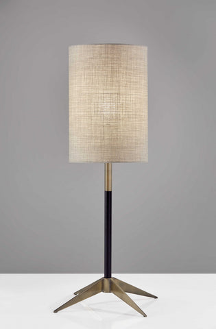 Matte Black Accent and Tall Natural Fabric Shade Table Lamp