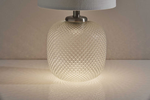 "11"" X 11"" X 21.25"" Brushed steel Metal Table Lamp with Night Light"