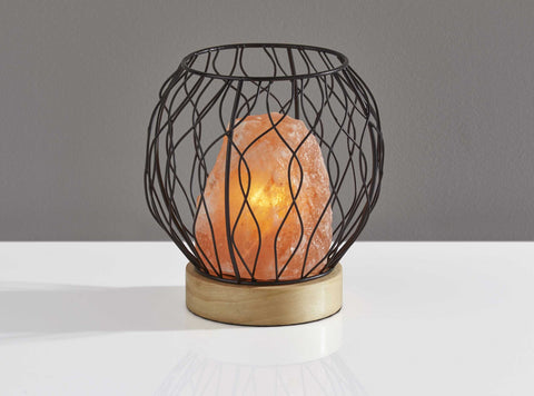 "8"" X 8"" X 8"" Black Metal Himalayan Salt Table Lamp"