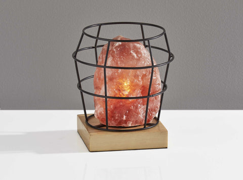 "7"" X 7"" X 8"" Black Metal Himalayan Salt Table Lamp"