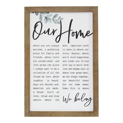 """Our Home"" Metal & Wood Framed Wall Art"