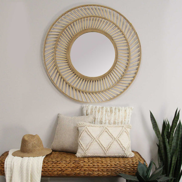 "31.5"" Boho Casual Woven Wicker Wall Mirror"