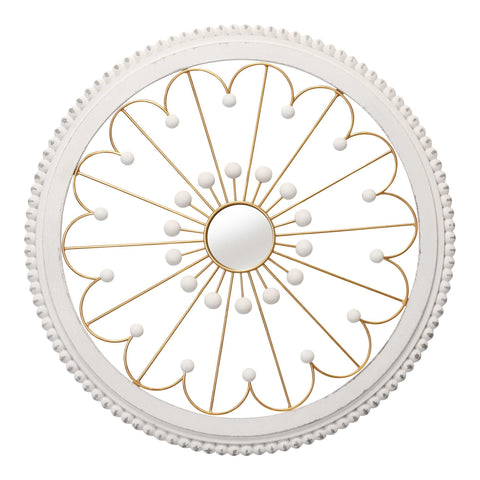 "3.5"" Round Medallion Wood and Metal Wall Mirror"