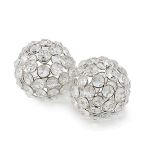 "3"" X 3"" X 3"" Silver Iron & Cristal Spheres Set Of 2"