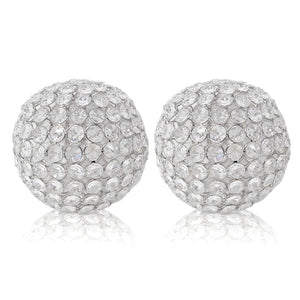 "5"" X 5"" X 5"" Silver Iron & Cristal Spheres Set Of 2"