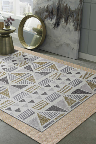 "105"" X 156"" Ivory or Gold Polyester Rug"
