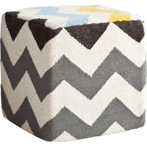 Ivory and Charcoal Wool Square Pouf with Zig Zag Pattern
