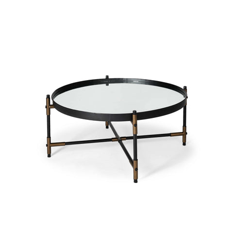 Round Mirrored Top Accent Table with Black and Brass Metal Base