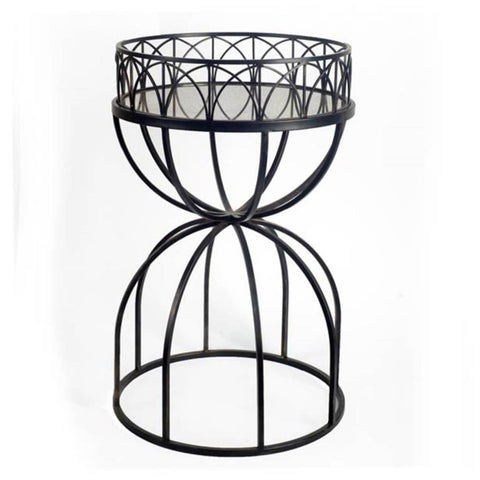Hour-Glass Mirrored Top Accent Table with Black Iron Base