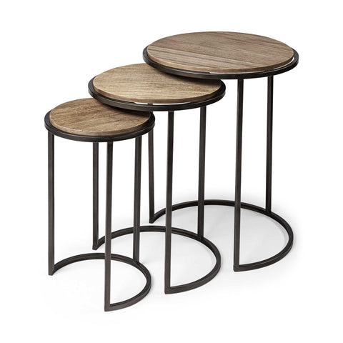 Set of 3 Brown Wood Round Top Accent Tables with Iron Nesting