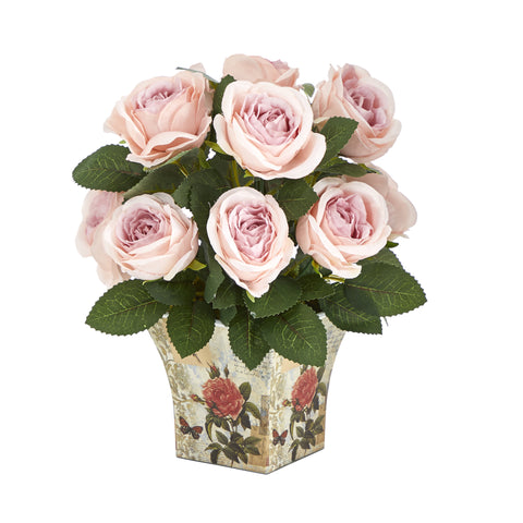 "11"" Rose Artificial Arrangement In Floral Vase"