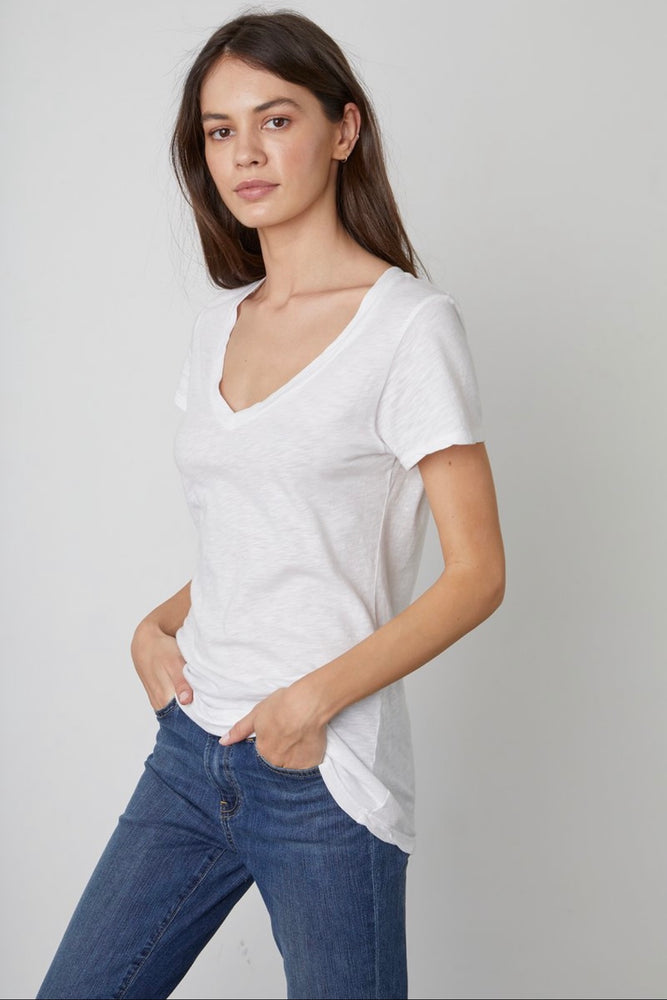 Load image into Gallery viewer, VELVET LILITH COTTON SLUB V-NECK TEE white