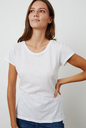 VELVET ODELIA COTTON SLUB CREW NECK TEE white