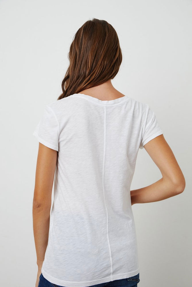 Load image into Gallery viewer, VELVET ODELIA COTTON SLUB CREW NECK TEE white