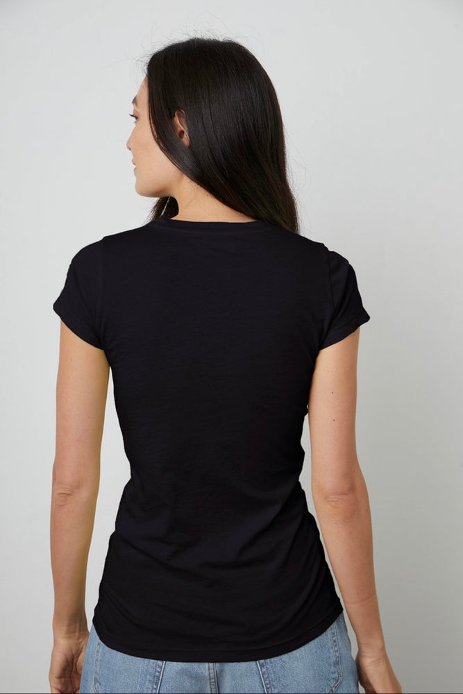 VELVET JEMMA GAUZY WHISPER FITTED CREW NECK TEE black