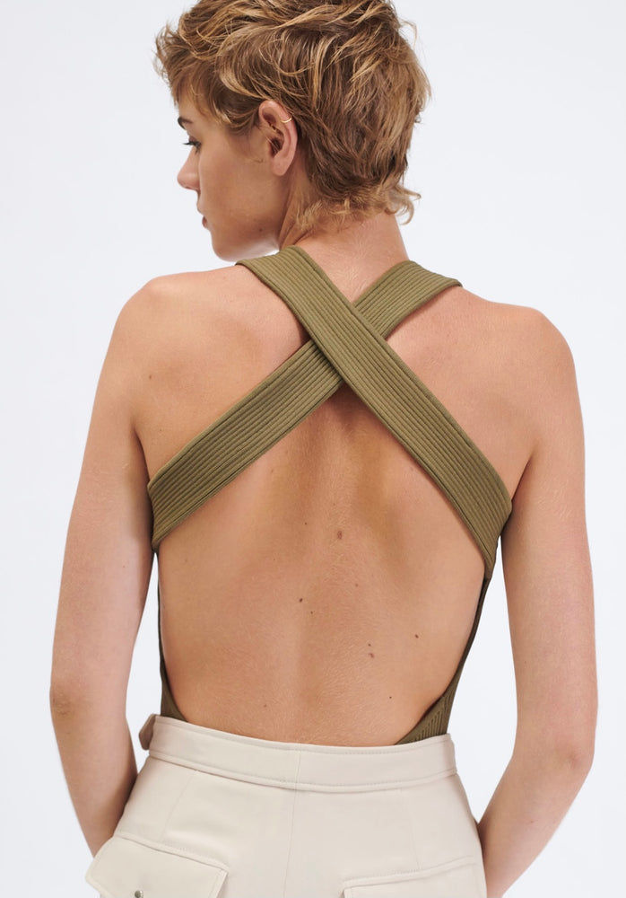 BARBARA BUI BACKLESS KNIT TANK TOP KHAKI